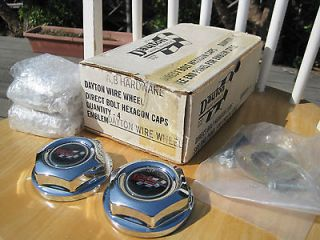 BRAND NEW Dayton Wire Wheel Center hex caps X4 + hardware