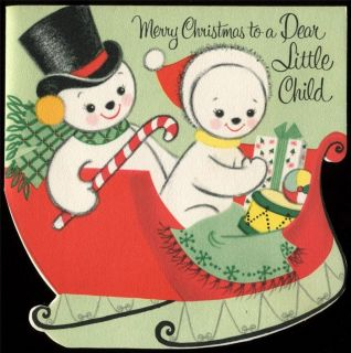 c1950 Vintage Christmas Card Boy & Girl SNOWMEN Riding in Sled UNUSED