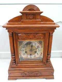 German Oak Case Westminster Chimes Mantle Clock 19H 12W 8D