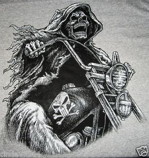 GRIM REAPER RIDING CHOPPER T SHIRT GRAY SIZE 3XL NEW