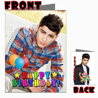 MALIK ONE DIRECTION 1D Front Back Happy Birthday Picture Photo Card