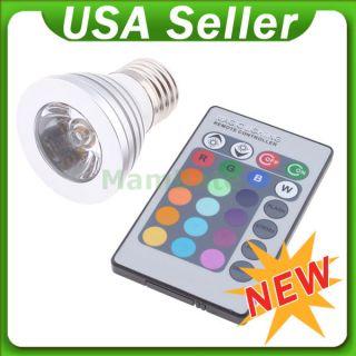 3W E27 16 Color RGB LED Light Flash Bulb Change Lamp Remote Control