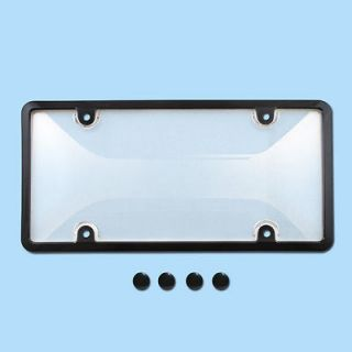 CLEAR PLASTIC LICENSE PLATE SHIELD +BLACK FRAME bug cover tag
