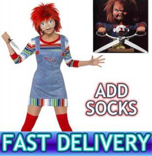 CHUCKY CHILDS PLAY Womens Ladies Halloween Horror Fancy Dress Costume