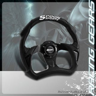 320mm 6 Hole Black PVC Leather Spoon Sports Steering Wheel Acura RSX