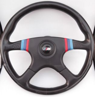 BMW 1985 E24 MOMO CSI M28 BLACK LEATHER M COLORS STEERING WHEEL HORN