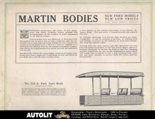 1920 ? Ford Model T Martin Truck Body Brochure Panel Woodie Station