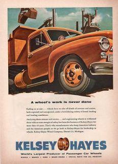 ORIGINAL PRINT AD   1954 KELSEY HAYES CAR WHEELS