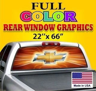 Rear Window Nice Logo Graphic Decal Tint   Chevy Logo Dodge Ford Chevy