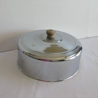 Vintage Round Cake or Pie Cover Stainless Steel Chrome Wood Knob 10