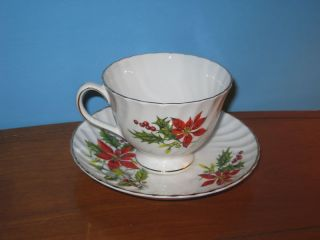Royal Adderley Bone China Poinsettia Cup and Saucer Set