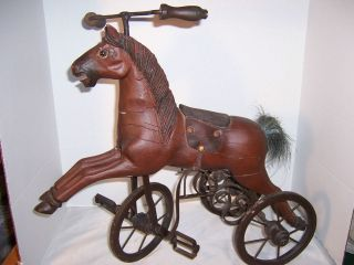 ANTIQUE/VINTAGE 19 TALL WOOD & METAL GALLOPING HORSE TRICYCLE