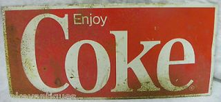 VINTAGE ENJOY COKE VENDING MACHINE RUSTIC METAL SIGN COCA COLA COOLER