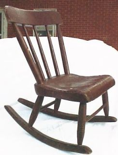Childs Antique Rocker Rocking Chair with Plank Seat Brown Paint