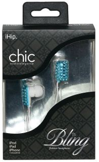 iHip Aqua Blue Chic Crystal Rhinestone Bling Fashion Earphones Earbuds