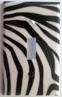 Zebra Stripe Print Black & White Light Switch Plate Cover Wall Decor