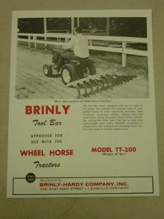 VINTAGE BRINLY TOOL BAR #TT 200 SPEC SHEET for WHEEL HORSE TRACTORS