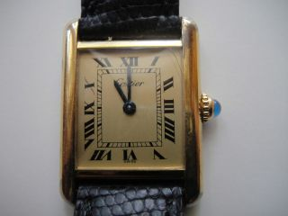 Ladies CARTIER Tank Americaine 18K White Gold Leather Band Watch ~ ALL