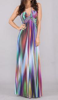 SKY Brand Jolima Blue Multi Color Print Braid Halter Long Maxi Dress