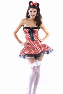 Halter Mickey Minnie Mouse DRESS Costume Womens Halloween Adult Ears