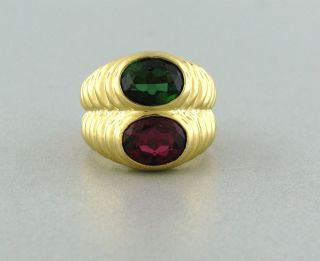 ESTATE BVLGARI BULGARI 18K YELLOW GOLD GREEN TOURMALINE GARNET RING