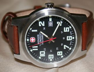 Wenger Swiss army Mens Classic Field Military Watch black dial brow