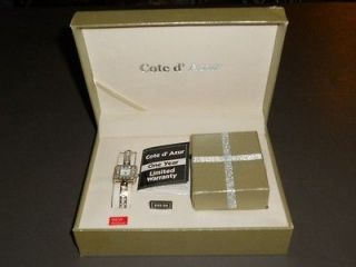 NEW IN BOX COTE DAZUR LADIES SILVER WATCH WITH NECKLACE & EARRINGS