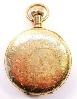 ANTIQUE GOLD FILLED ELGIN POCKET WATCH FOR REPAIR
