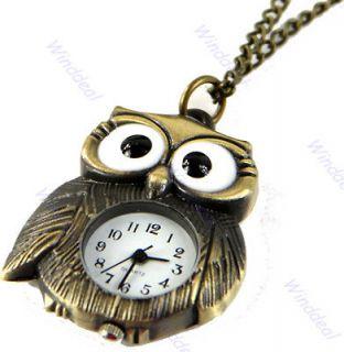 Vintage Bronze Big Eyes Owl Keychain Pocket Watch Clock