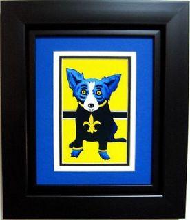 GEORGE RODRIGUE BLUE DOG Saints POSTCARD   FRAMED   11.5 x 13.5