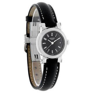 Movado Vizio Ladies Black Leather Strap Watch 1603553