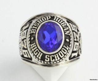 Vintage Class Ring   Sterling Silver Bishop Horan High School Syn Blue