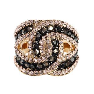 18K gold GP ARINNA gorgeous jet Cocktail Fashion Ring Swarovski pinky