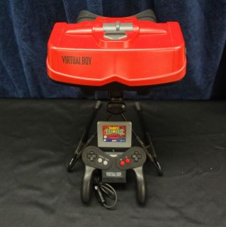 Nintendo Virtual Boy Red Console BUNDLE Game Mario Tennis + Stand