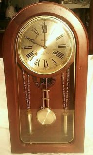 Vintage Waltham Pendulum Solid Wood Wall Clock 31 day chime Key wound
