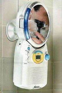 Digital AM/FM Radio CD Player Shower w/ Anti Fog Mirror & Clock