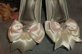 Shoe Clips Pink Ivory Satin Bows, Bridal Wedding Prom womens girls set