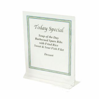 CLEAR ACRYLIC PLASTIC TABLE CARD MENU FLYER PAPER HOLDER