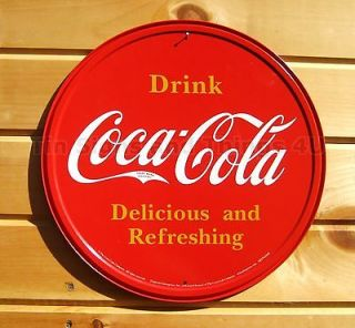 Drink Coca Cola ROUND TIN SIGN Red COKE Vtg Button Logo metal wall