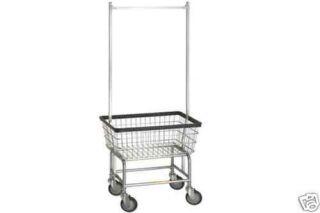 Laundry Cart w/ Basket & Double Pole Rack Hang Clothes