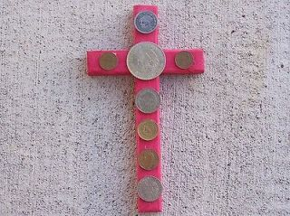Attract Wealth! Folk Cross with Old Mexican Coins, Mexico   White