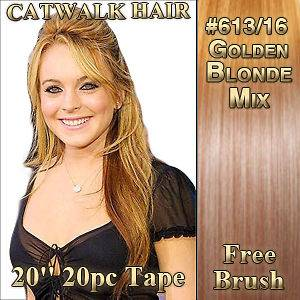 SKIN Weft Remy Human Hair Extensions #613/16 Golden Blonde Mix Red