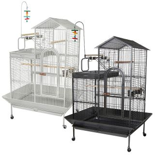 45x35x65 Large Parrot Bird Cage Macaw Play Top House Flight Aviary