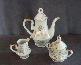 Royal Crown porcelain gold Coffee set creamer sugar flower teapot 5107