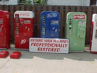 OF PROFESSIONALLY RESTORED SODA COKE MACHINE PEPSI DR PEPPER VENDO 81