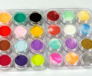 24 Colors 3D Nail Art Glitter Acrylic Powder Decoration
