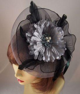 BLACK w/ SILVER GRAY FASCINATOR FEATHER FLOWER Headband Hair Clip
