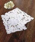 White Cutwork Floral Table Placemats Set of 2 Linen Polyester 12 1/2