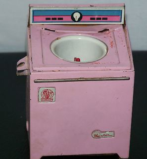 Dollhouse Mini Pink Metal Washing Machine Miniature for Doll House