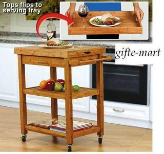 BAMBOO wood cutting board rolling Storage 2 shelf organizer Cart wheel